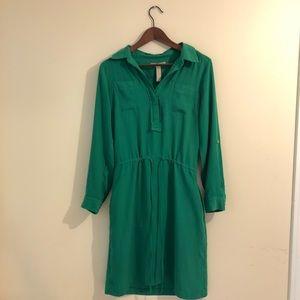 Banana Republic Drawstring Green Dress